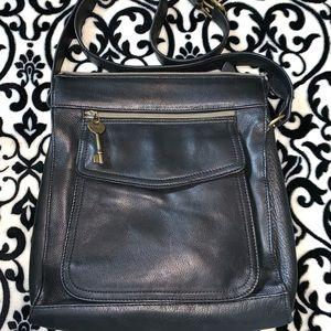 Vintage Fossil 1954  Messenger Bag Black 75082